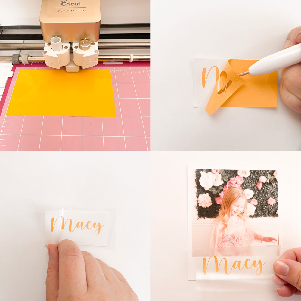 4 photos show the process of cutting letters using a die machine to create the DIY print place setting in the bottom right.