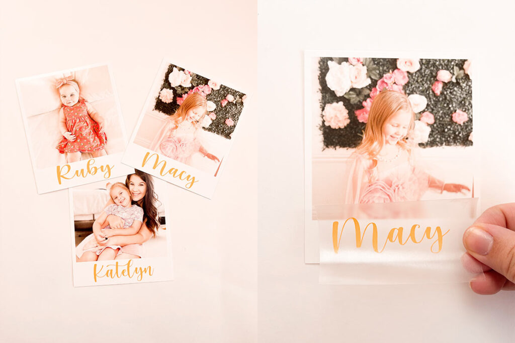 On the left, a photo shows three DIY instant print place settings with photos of a mother and daughter. On the right, one place setting is held to the camera showing a little girl and her name.