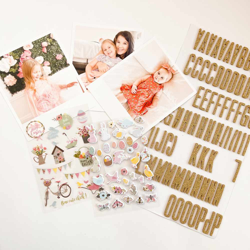 Sheets of stickers and letter stickers shown next to the instant photo prints as an alternative method to create this DIY place set