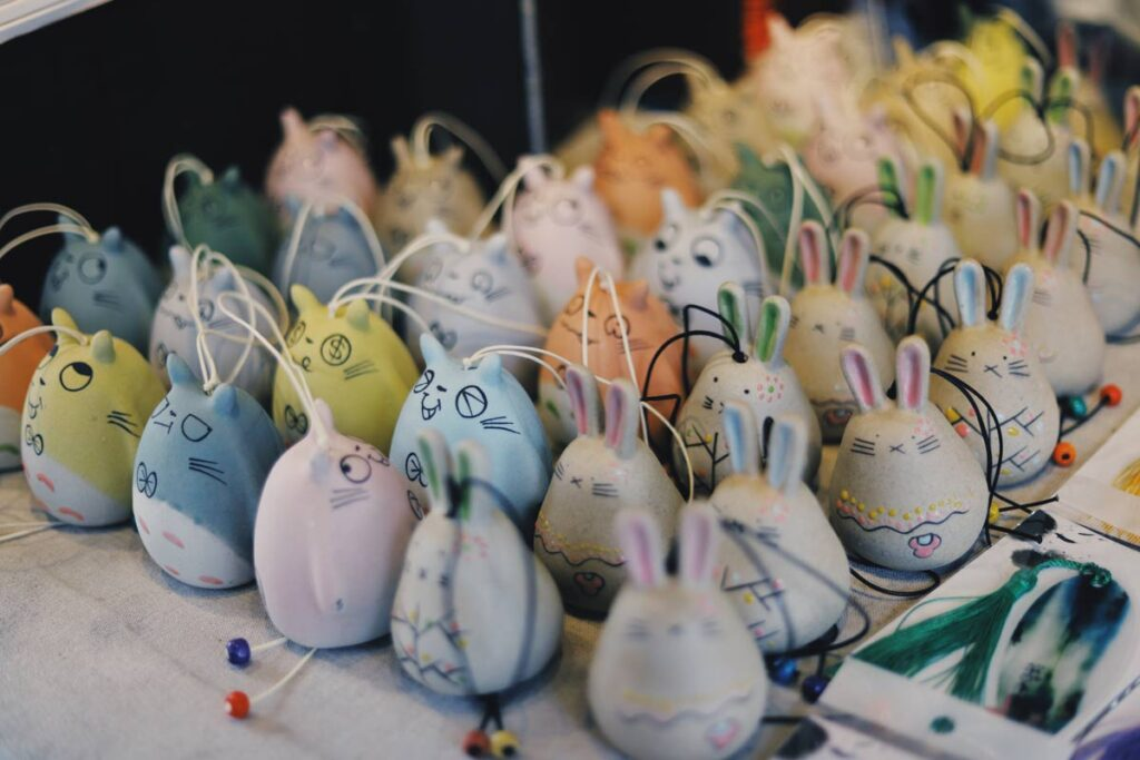Colorful Easter egg turned bunny rabbit crafts as an easy DIY for children