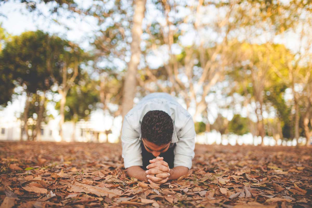 A man prays in celebration in nature in the woods