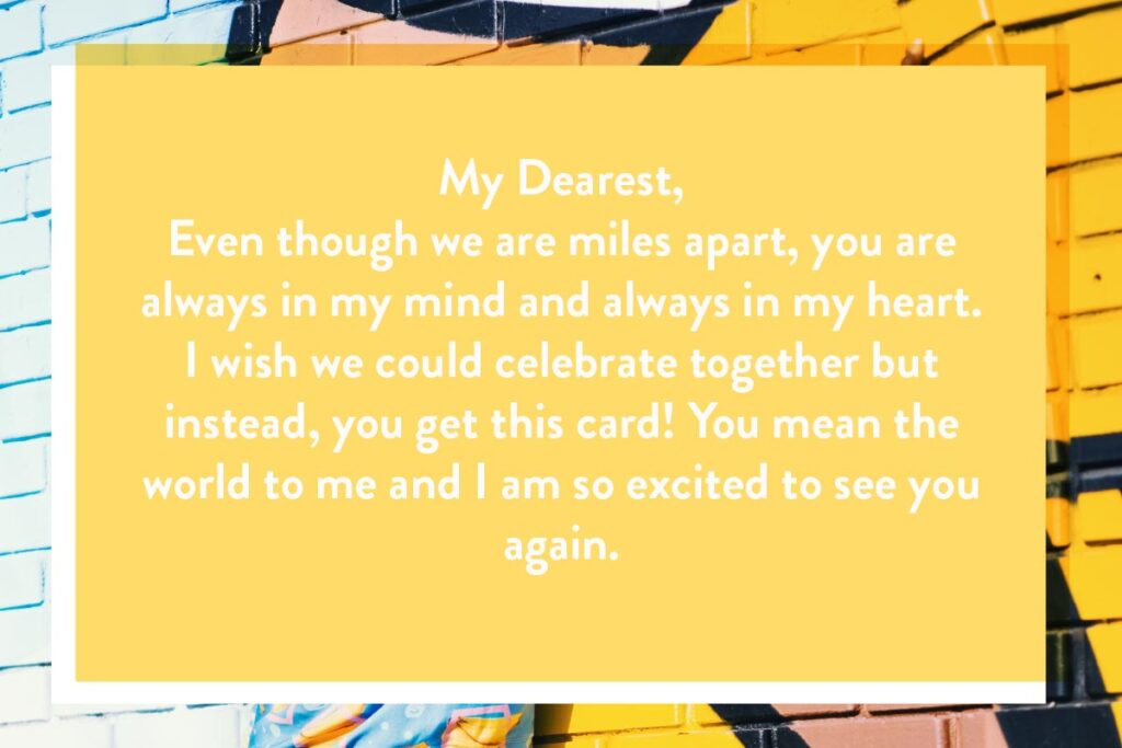Sample message of what to write in a birthday card to a long distance lover