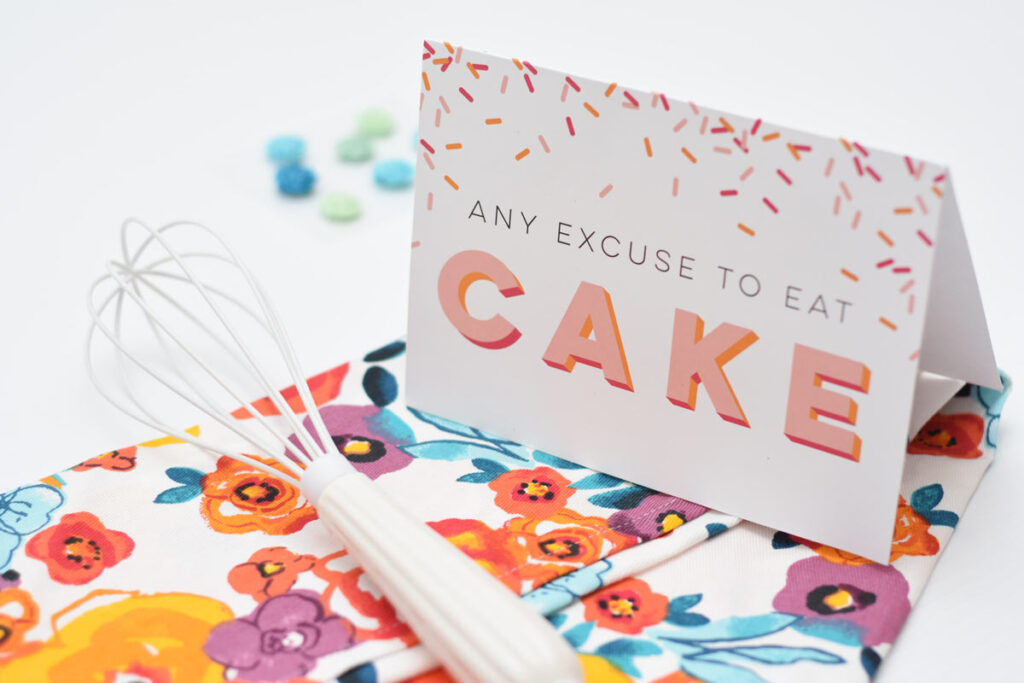 What to write in a birthday card to your partner could be funny like this 'Any excuse to eat cake' card