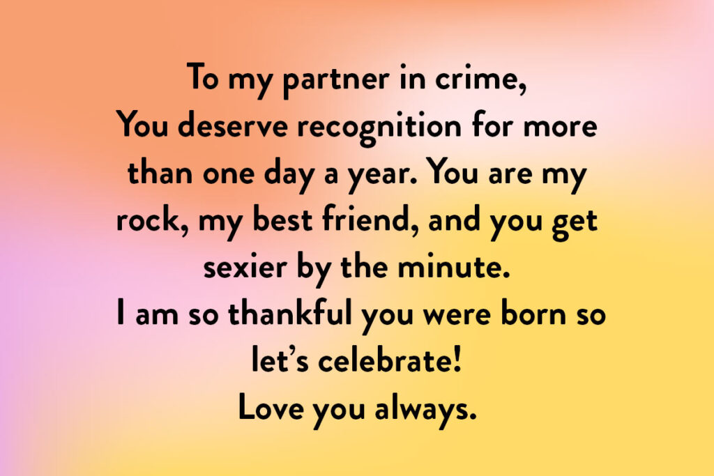 An example of What to write in a birthday card for a long-term partner