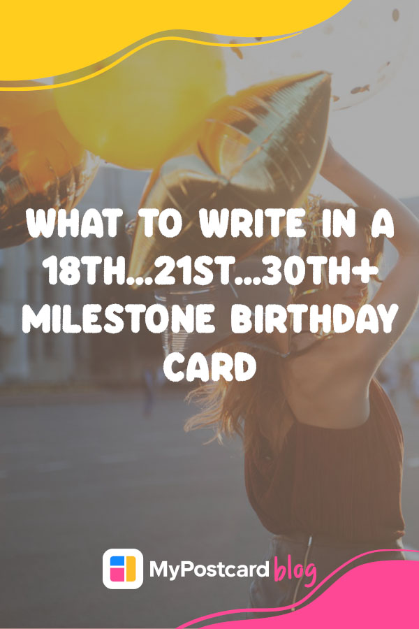 A pin with the article title in the front and in the background a woman celebrating her milestone birthday, holding balloons.