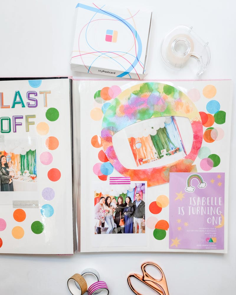 The finishes DIY project of the birthday scrapbook gift for kids or adults