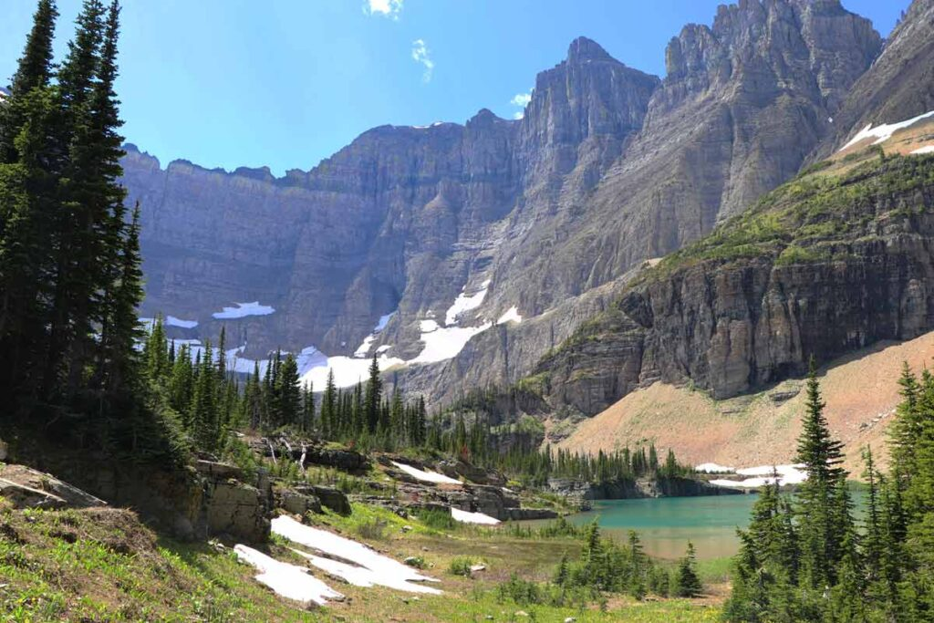 Glacier National Park with rocky glaciers rising from uneven ground