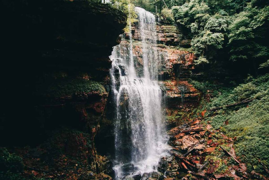 A waterfall in one of the best hiking trails in the USA